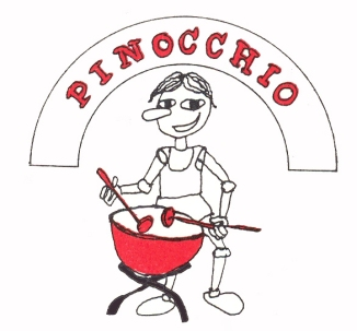 Pinocchio med trommer logo